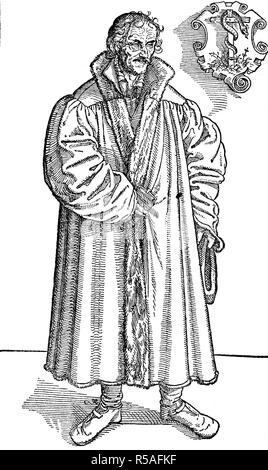 Philip Melanchthon, Philippus Melanchthon, 1497, 1560, born Philipp Schwartzerdt, was a German Lutheran reformer, woodcut - Stock Photo