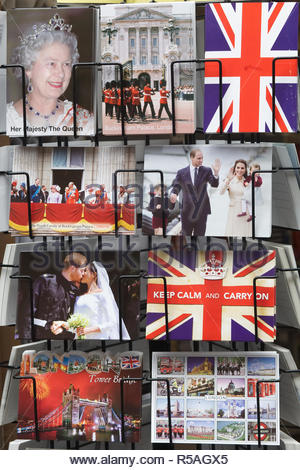 The royal family and London Postcards - Stock Photo