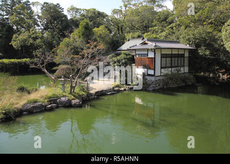large pond in the imperial palace park kyoto japan - Stock Photo
