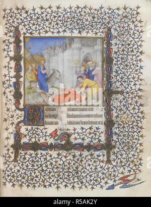 Entry into Jerusalem. Book of Hours. France [Bourges]; between 1405 and 1410. [Whole folio] Mass for Palm Sunday. Christ rides a donkey towards the gates of the city of Jerusalem, with his disciples following behind him. A youth places a cloak on the ground before the donkey, another holds a palm branch, and behind them a group of scribes and Pharisees.Text begininng with decorated initial 'D', and vine-leaf border with grotesque. Probably produced for John, Duke of Berry  Image taken from Book of Hours.  Originally published/produced in France [Bourges]; between 1405 and 1410. . Source: Yates - Stock Photo