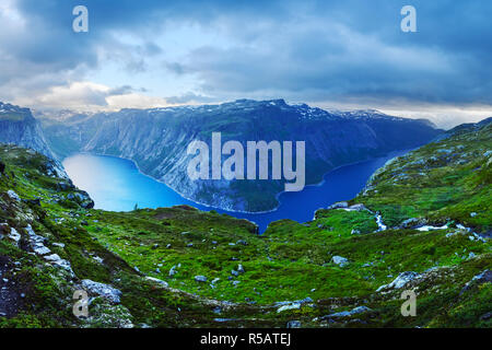 Panorama of Ringedalsvatnet lake near Trolltunga rock - most spectacular and famous scenic cliff in Norway - Stock Photo