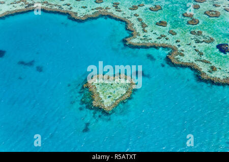 Aerial view of Heart Reef, part of Great Barrier Reef, Queensland, Australia - Stock Photo