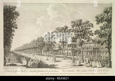 A view of the Grand Walk in Vauxhall Gardens, taken from the entrance. A View of the Grand Walk ... in Vauxhall Gardens, taken from the entrance, by Canaleti; engraved by E. Rooker. 1751. Source: Maps.K.Top.41.27.d. - Stock Photo