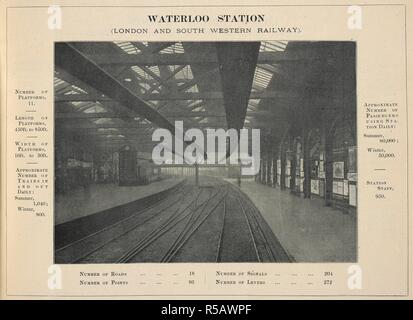 Waterloo station (London and south western railway.). The Railway Herald Station Album. A series of ... illustrations ... of ... Railway Stations, with principal dimensions, etc. London, [1898]. Source: Maps.30.b.12 page 11. - Stock Photo