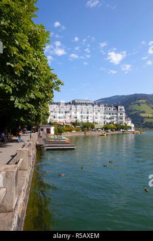 Grand Hotel on Lake Zell am See, Pinzgau, Salzkammergut, Austria - Stock Photo