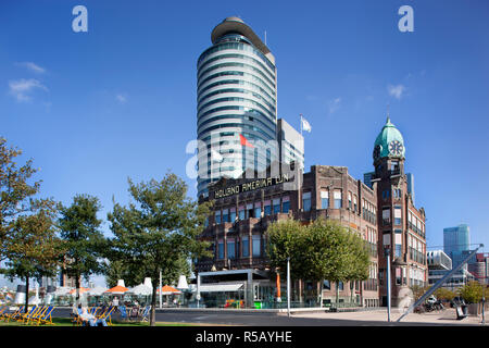 Rotterdam, Netherlands – September 18, 2018: The famous Hotel New York on the south bank in Rotterdam - Stock Photo