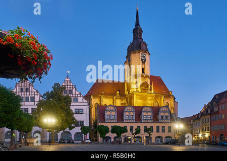 Market with Wenceslas Church in the evening in Naumburg / Saale, Saxony-Anhalt, Germany - Stock Photo