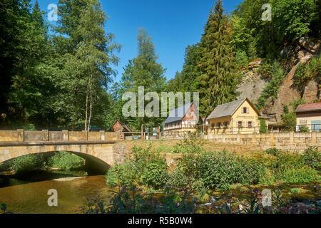 Neumannmühle in the Kirnitzschtal near Sebnitz, Saxon Switzerland National Park, Saxony, Germany - Stock Photo