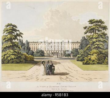 Elegant figures standing on a path leading towards Hampton Court Palace; a pond and a fountain in the centre of the path; trees and grass on either side. No6 A VIEW of HAMPTON COURT PALACE : Taken in the Gardens. London : Publish'd Mar 1 1798 at Ackermann's Gallery No 101 Strand, [March 1 1798]. Etching and aquatint with hand-colouring. Source: Maps K.Top.29.14.m.1. Language: English. Author: Mannskirsch. - Stock Photo