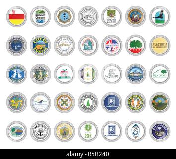 Set of vector icons. Flags and seals of cities, California state, USA. 3D illustration. - Stock Photo