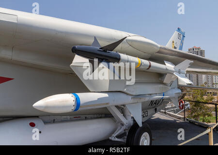 AIM-9 Sidewinder missile  (and possibley a  AIM-7 Sparrow ), F-14 Tomcat fighter aircraft, USS Midway Museum, San Diego, California, United States. - Stock Photo