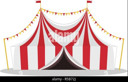 Flat illustration of a circus tent. Isolated illustration. - Stock Photo