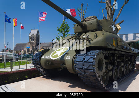 France, Normandy Region, Manche Department, D-Day Beaches Area, Sainte Mere Eglise, Musee Airborne, Airborne Museum, D-day invasion by Utah Beach, US WW2-era Sherman tank - Stock Photo