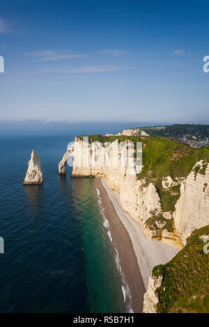 France, Normandy Region, Seine-Maritime Department, Etretat, Falaise De Aval cliffs - Stock Photo