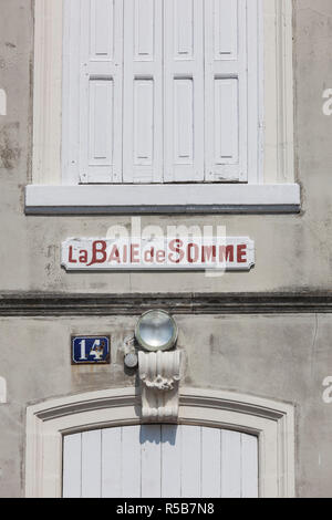 France, Picardy Region, Somme Department, Le Crotoy, Somme Bay resort town, La Baie de Somme sign on building - Stock Photo