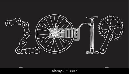 Hand drawn bicycle 2019 Happy New Year vector in black and white - Stock Photo