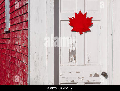 Canada, New Brunswick, Campobello Island, Holiday home, maple leaf design - Stock Photo