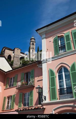 Switzerland, Ticino, Lake Lugano, Morcote, lakefront buildings and Chiesa Santa Maria del Sasso church - Stock Photo