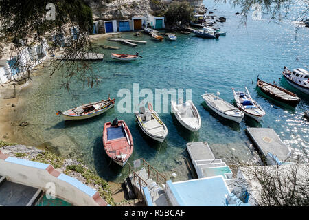 The beautiful and coloured fishing villages of Mandrakia in Milos - Stock Photo