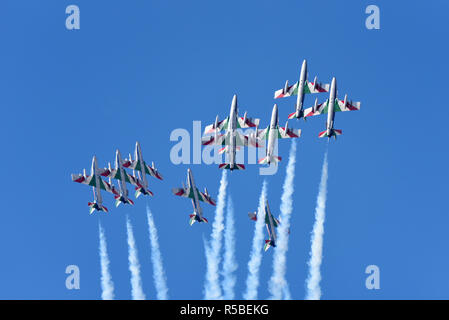 Frecce Tricolori aerobatic demonstration team of the Italian Aeronautica Militare Italian Air Force air display team flying Aermacchi MB-339 jets - Stock Photo