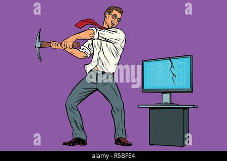 Businessman breaks the computer, cryptographer virus ransomware - Stock Photo