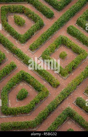 Spain, Castilla y Leon Region, Segovia Province, Segovia, The Alcazar, elevated view of garden maze