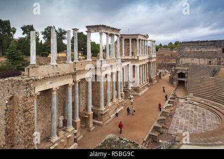 Spain, Extremadura Region, Badajoz Province, Merida, ruins of the Teatro Romano, Roman Theater, 24 BC - Stock Photo