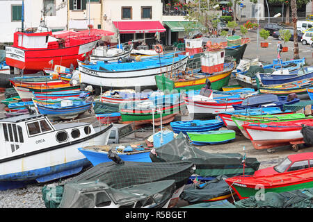 Fishing boats in harbour of Camara de Lobos on Madeira - Stock Photo
