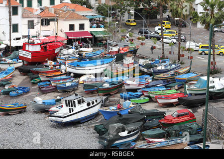 Fishing boats in the harbour of Camara de Lobos on Madeira