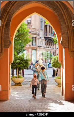 Spain, Andalucia Region, Seville Province, Seville, archway by The Alcazar - Stock Photo