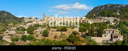 Village skyline, Valldemossa, Mallorca,  Balearic Islands, Spain - Stock Photo