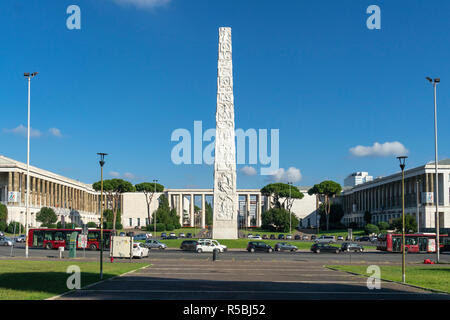 The Obelisk of Marconi in the Piazza Guglielmo Marconi, built for the Esposizione Universale Roma  1942.  EUR, Rome, Italy. - Stock Photo