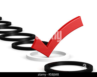 Red check mark on white - Stock Photo