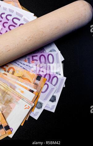 Baseball bat on euro cash money. Corruption concept - Stock Photo