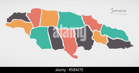 Jamaica Map with states and modern round shapes - Stock Photo