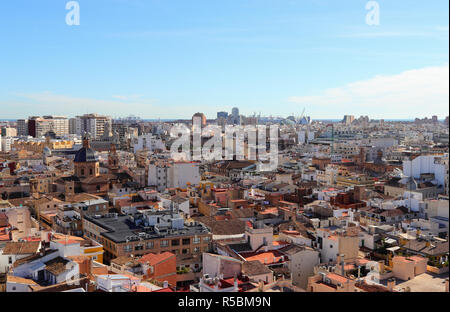 VALENCIA, SPAIN - NOVEMBER 27, 2018: Over the roofs of Valencia, Spain, from top of Valencia Cathedral. View of the city in direction of the port. - Stock Photo