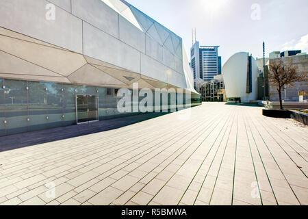 Israel, Tel Aviv, exterior of the new Herta and Paul Amir building of the Tel Aviv Museum of Art - Stock Photo