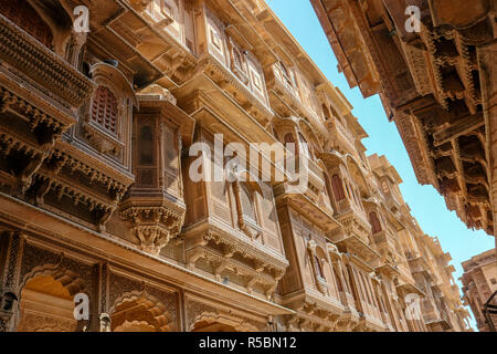 Patwon Ki Haveli, Jaisalmer, Rajasthan, India. The first among these havelis was commissioned and constructed in the year 1805 by Guman Chand Patwa an