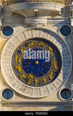 Italy, Veneto, Venice, St. Mark's Square (Piazza San Marco), Astronomical Clock Tower (Torre dell'Orologio) - Stock Photo