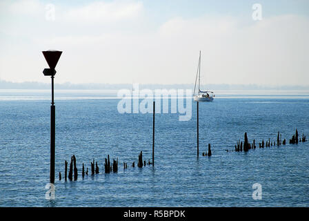 Coast of Lindau, Bodensee, Germany. Position in Lindau 'Oskar-Groll-Anlage'. - Stock Photo