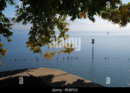 Coast of Lindau, Bodensee, Germany. Position in Lindau 'Oskar-Groll-Anlage' - Stock Photo