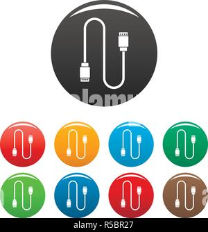 Charging vape cable icons set 9 color vector isolated on white for any design - Stock Photo