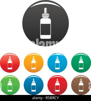 Vape liquid reserve icons set 9 color vector isolated on white for any design - Stock Photo