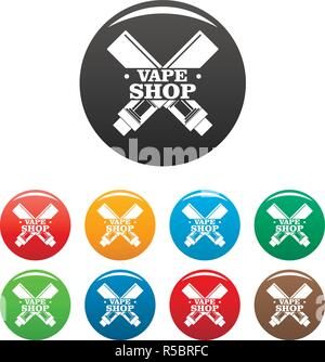 Modern vape shop icons set 9 color vector isolated on white for any design - Stock Photo