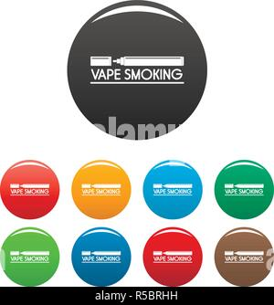 Vape smoking icons set 9 color vector isolated on white for any design - Stock Photo