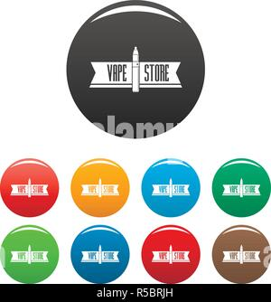 Vape store icons set 9 color vector isolated on white for any design - Stock Photo