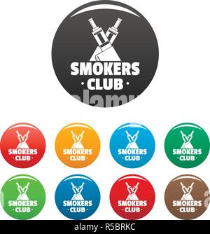 Vape smokers club icons set 9 color vector isolated on white for any design - Stock Photo