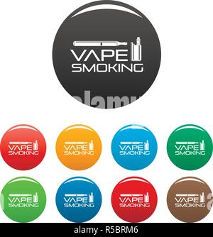 Vape man smoking icons set 9 color vector isolated on white for any design - Stock Photo