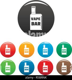 Vape box bar icons set 9 color vector isolated on white for any design - Stock Photo