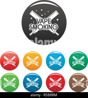 Vape smoking day icons set 9 color vector isolated on white for any design - Stock Photo
